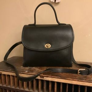 coach vintage black court cross body bag